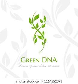 Dna spiral with green leaves. Vector emblem for acupuncture, biochemistry,  pharmacy company.