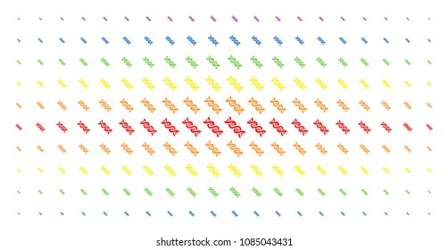 DNA spiral icon rainbow colored halftone pattern. Vector dna spiral shapes are arranged into halftone matrix with vertical spectrum gradient. Designed for backgrounds, covers,