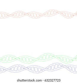 DNA spiral. Isolated on white background. Vector outline illustration.