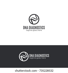 DNA spiral logo template, biotech icon, modern medicine and genetics