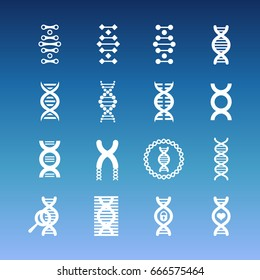 DNA spiral vector icons - medicinal and biology icons set. Medical helix illustration
