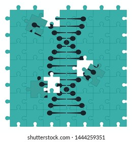 DNA strand on jigsaw puzzle pieces.
