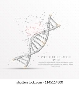 DNA strand symbol abstract mesh line and composition digitally drawn starry sky or space in the form of broken a part triangle shape and scattered dots low poly wire frame.