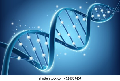 DNA structure design, glitter blue helical structure in 3d illustration isolated on blue background