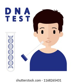 DNA test. Concept flat vector illustration. Cheek swab.