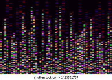 Dna test infographic. Vector illustration. Genome sequence map. Template for your design. Background, wallpaper. Barcoding. Big Genomic Data Visualization