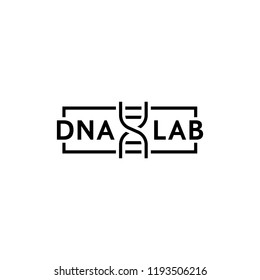dna test thin line logo. concept of genetic badge or simple pharmacy laboratory template. flat stroke trend modern smart biotech logotype graphic lineart design art on white background