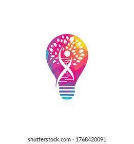 Dna tree bulb shape concept vector logo design. DNA genetic icon. DNA with green leaves vector logo design.
