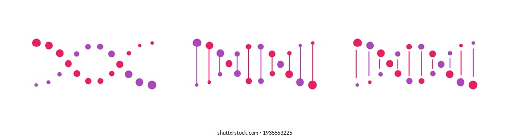 DNA vector icons set. Genetic concept. Life gene model bio code genetics molecule. Molecule, chromosome icon set. Pictogram of Dna vector, genetic sign, elements and icons collection. Vector graphic