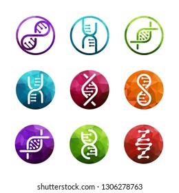 DNA vector logo collection isolated. Deoxyribonucleic acid icons set. EPS10