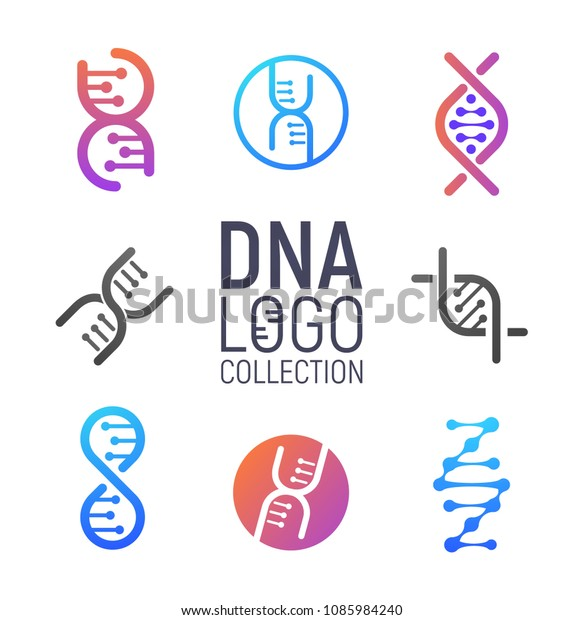 Dna Vector Logo Collection Isolated Deoxyribonucleic Stock Vector Royalty Free 1085984240