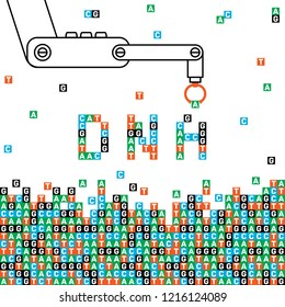 DNA Vector with robot arm in linear style. Concept genome sequencing and personalized medicine