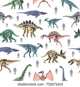 Dnosaurs seletons silhouettes bone animal and jurassic monster predator dino vector flat seamless pattern background
