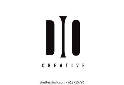 DO D O White Letter Logo Design with Black Square Vector Illustration Template.