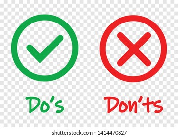 Do and Dont check tick mark and red cross icons isolated on transparent background. Vector Do's and Don'ts checklist or choice option symbols in circle frame, eps 10