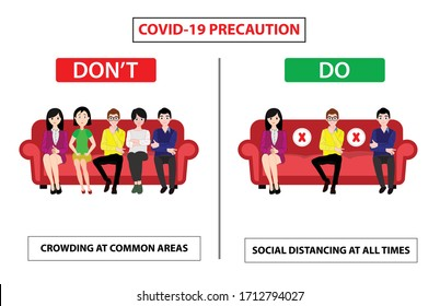 Do and don't poster for covid 19 corona virus. Safety instruction for office employees and staff. Vector illustration of crowding at common area or maintain social distancing.