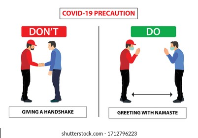 Do and don't poster for covid 19 corona virus. Safety instruction for office employees and staff. Vector illustration of namaste replacing handshake for stop virus spreading.