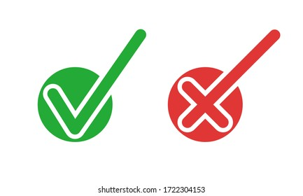 Do and Don't simple icons, vector elements. Green check mark and red cross, used to indicate rules of conduct or response versions.