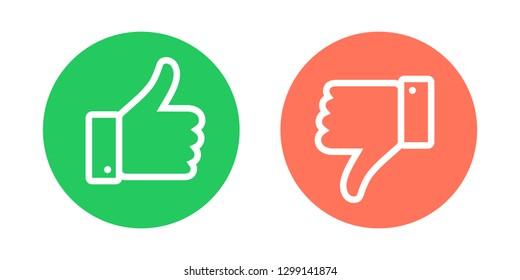 Do and Don't symbols. Thumbs up and thumbs down circle emblems. Vector illustration.