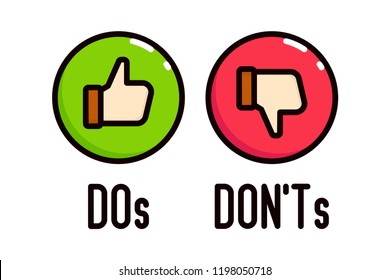 Do and Don't thumbs vector icons.
