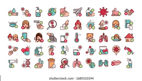 do and donts prevent spread of covid19 icons vector illustration line and file icon