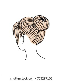 Up do hairstyle. Vector illustration.