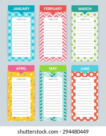 To do list by months - January, February, March, April, May, June. Perfect for planning your life, business meetings, dates and other current events. Vector illustration