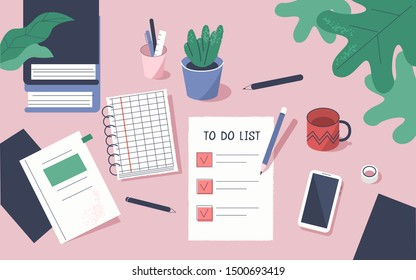 To Do List with Check Marks. Modern Office Desk with Planners, Organizers, Notebooks. Planning, Personal Organizer and Time management Concept.  Flat Cartoon Vector Illustration.