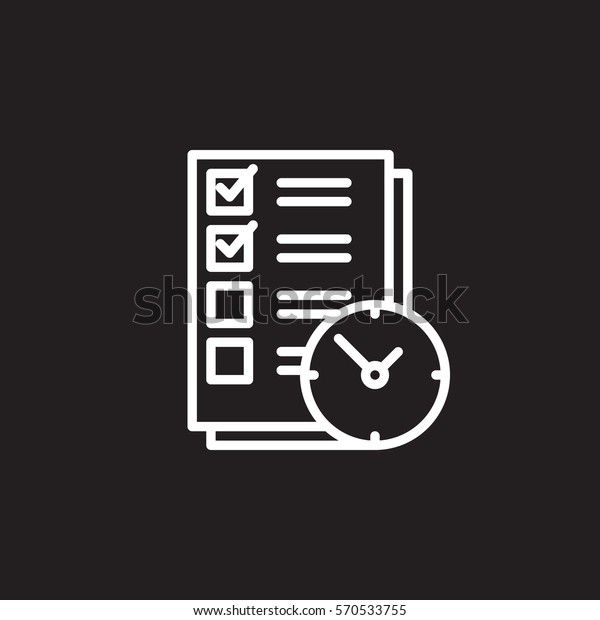 Do List Clock Line Icon Outline Stock Vector (Royalty Free