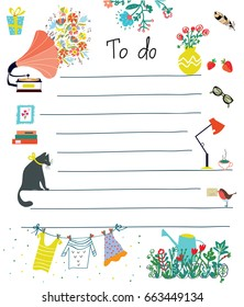 To do list - cute design with flowers, cat, lifestyle objects. Vector graphic illustration