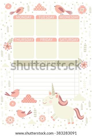do list cute page notes unicorn のベクター画像素材 ロイヤリティ