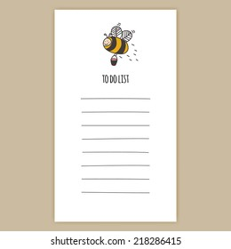 To Do List with cute vector working bee with bucket of honey on top.
