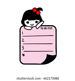 to do list design hand drawn girl Character illustration vector file