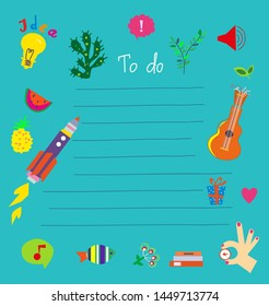 To do list - funny design for kids. Vector graphic illustration