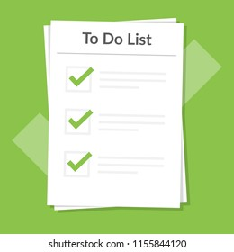 To do list icon concept. All tasks are completed. Planning sign design. Paper sheets with check mark. Vector flat illustration isolated on blue background.