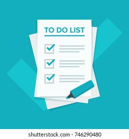 To do list icon concept. Planning sign design. All tasks are completed. Paper sheets with check mark. Vector flat illustration isolated on blue background