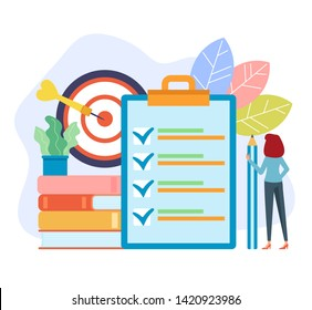 To do list target concept. Vector flat cartoon graphic design isolated illustration