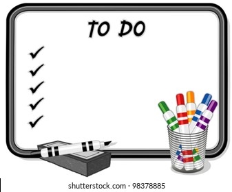 To Do List, Whiteboard, marker pens, eraser. Copy space to add your own text, notes or drawings for home, school, office, business projects. EPS8 compatible.