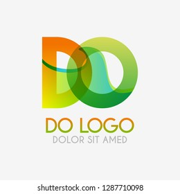 The DO logo with striking colors and gradations, modern and simple for industrial, retail, business, corporate. this OD logo made for online and offline media both web, mobile, logo, brochure, flayer