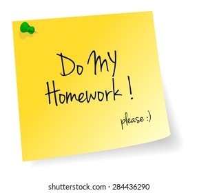 Do My Homework Yellow Stick Note Paper Vector Isolated