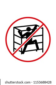 Do not climb on shelf black red and white vector symbol on white background