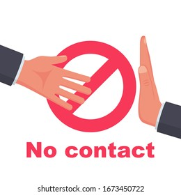 Do not contact. No handshake icon. Red prohibition sign. Precautions and prevention of coronavirus disease. No physical contact. Warning, dangerous infection on hands. Vector illustration flat design.