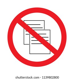 Do not copy file sign icon or no copy vector prohibition symbols illustration isolated on white background.