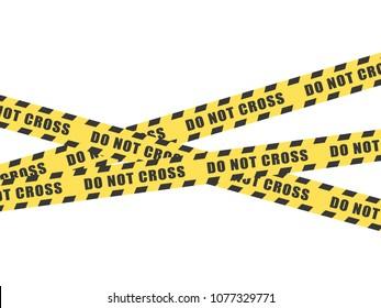 Do not cross tape on white background.