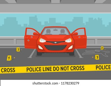 Do not cross yellow tape at crime scene. Car with opened doors in a parking lot. Flat vector illustration.