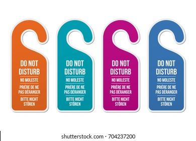 Do not disturb door hotel signs. Different languages and colors. Door hanger. Classic design