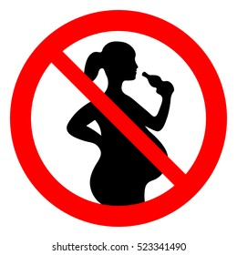 Do not drink alcohol during pregnancy. No alcohol for pregnant woman, prohibition sign, vector illustration.