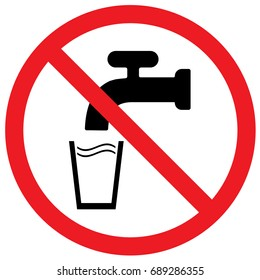 Do Not Drink Water Sign. Vector.