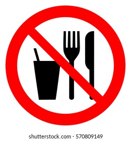 Do not eat or drink sign. No eating or drinking, prohibition sign. Vector illustration.