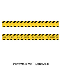 Do not enter. Yellow and black set stripes. Barricade construction tape. Vector illustration isolated on white background